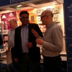 Richard Robinson (Cordee, UK) with Mani Singh (NextByte Technologies, India) sharing a light moment at IMIA reception, Frankfurt Book Fair